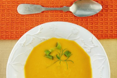 Squash Soup in White Bowl